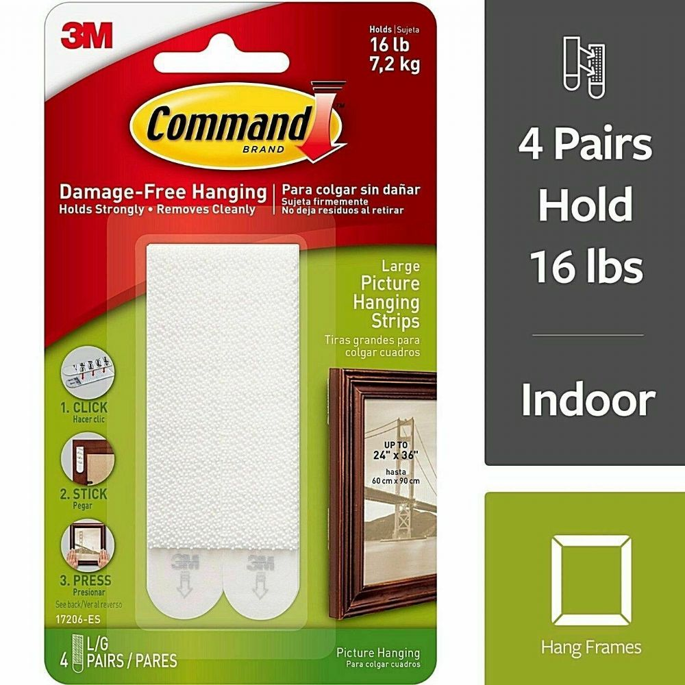 Command 4 lb. Large Plastic Picture Hanging Strips - White